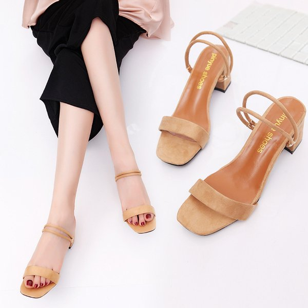 2018 Summer New Style Square Thick Heel Sandals + One Pair of Shoes Two Fashion Wild Suede Sandals (Black, Khaki, Pink) 35-39