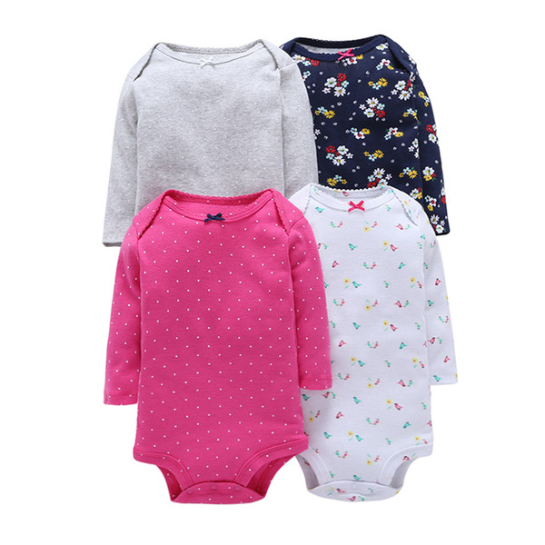 4Pcs Summer Baby Girl Bodysuits Set Rose Red Dot Long Sleeves Flowers Cotton Baby Bodysuits Girl Clothes Sets ROBG080711283