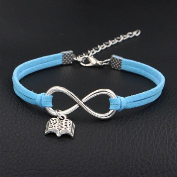 Blue Leather Rope Braided Wristband Bracelet Bangles Handmade Polyester Cord Chain Metal Infinity Open book Sport Jewelry Gift for women men