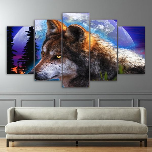Modular Canvas Pictures Popular Printed Cuadros Home Decoration Art Poster 5 Panel Animal Wolf Modern Frames For Paintings