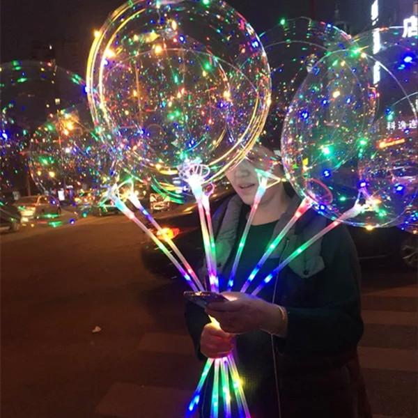 20 Inç Işık LED Balon Şeffaf Renkli Yanıp Sönen Aydınlatma Balonlar ile 70 cm Kutup Düğün Süslemeleri Tatil Kaynağı