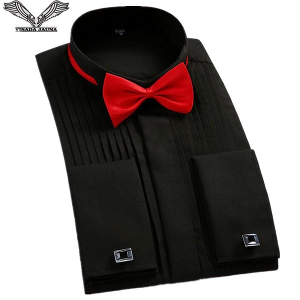VISADA JAUNA 2018 European Style Men Tuxedo Shirts Bow Tie And French Cuffs Slim Fit Cotton Men Dress Shirts 4XL Big Size N8918