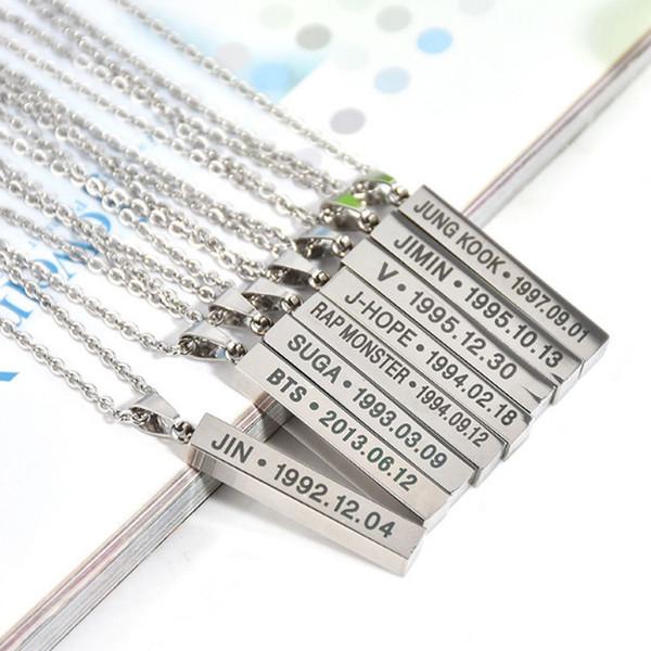 whole saleSale Alloy Bangtan Boys BTS Silvery Necklace For Men JIMIN KOOK V SUGA JHOPE Women Pendent Fashion Jewelry