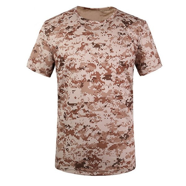 New Outdoor Hunting T-shirt Men Breathable Army Tactical Combat T Shirt Dry Sport Camo Camp Tees-ACU yellow