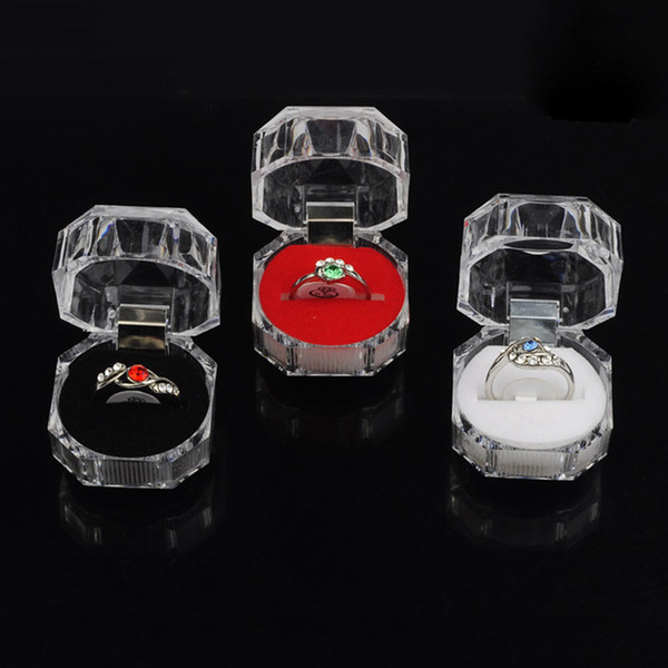 best selling new arrival popular Portable Acrylic Transparent Rings Earring Display Box Wedding Jewelry Package Box Wholesale Free