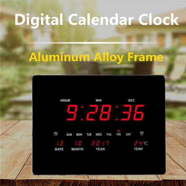 Large LED Digital Wall Clock EU Plug Power Crystal Electronic Calendar  Digital Alarm Clock Desktop Despertador Wall Clocks For Home Wall Clocks  For