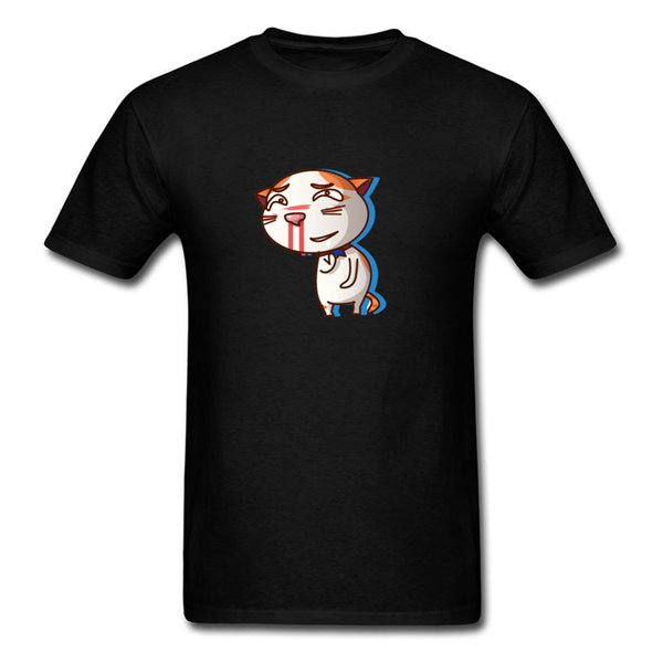 Bleeding Nose Funny Cat T Shirt Men Short Sleeve Cartoon Design Tee Shirt Fashion Back Tops Cotton Fabric Mini Print