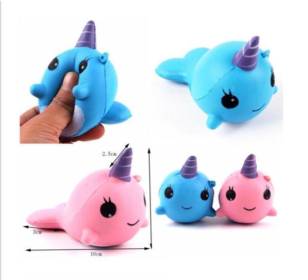 Squishy Slow Rising Cute Whale Squishies Toys Kawaii Cartoon Soft Decompression Slow Unicorn Phone Charm Backpack Home Office DIY Decor