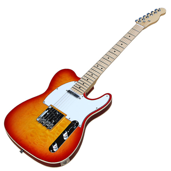 Cherry Sunburst Electric Guitar with White Pickguard,Flame Maple Veneer,Binding Body,Chrome Hardwares,offer customized services