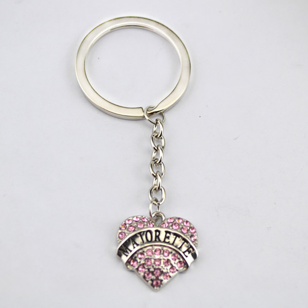 Drop Shipping Three Kinds Of Design Rhodium Plated Zinc Studded With Sparkling Crystals MAJORETTE Heart Pendent Charm Key Chain
