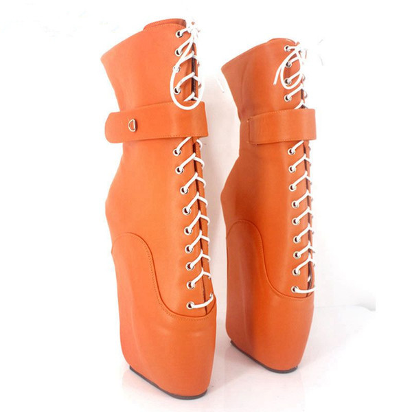 2018 Woman Boots 18CM Ultra High Heel Strange Wedge Ballet Boots Fashion Sexy Fetish Cross-tied Ankle Boots With Padlocks Locks