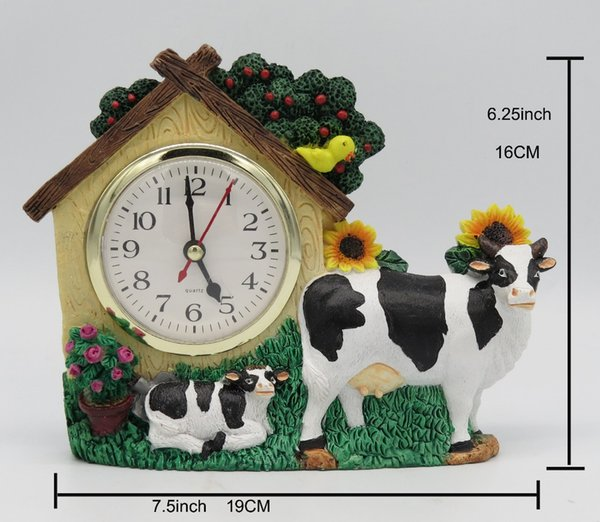 Hankroi Rural Style Desk Clock Resin 6.25 Inches Height Table Clock House & Cow Hand Painted Home Decor
