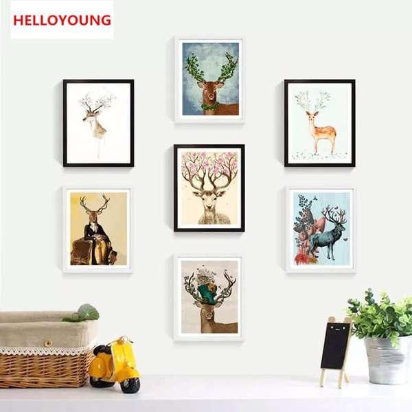 HELLOYOUNG Handpainted Oil Painting Deers fight Digital Painting by numbers oil paintings chinese scroll paintings Home Decor