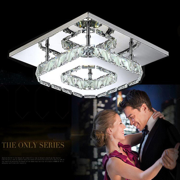LED Crystal Light Square Chandelier 12W Led Ceiling Lamp Crystal Luster Light for Home Dining Room Restaurant Stainless Steel Clear Ceiling