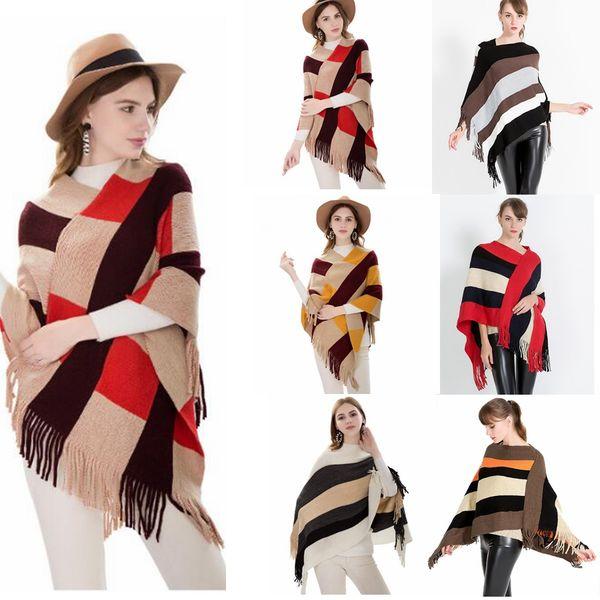 Plaid Poncho Schal Quaste Wraps Frauen Vintage Strick Tartan Winter Cape Grid Schal Cardigan Decken Mantel Mantel Pullover Schals GGA781