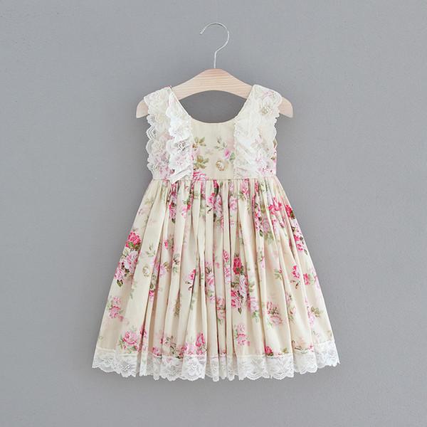 Bebek Kız Çiçek Baskı Dantel Ruffles Elbiseler Yeni Yaz Parti Elbise Şeker Renk Pamuk Moda Batı Sevimli Çocuk Elbise B11