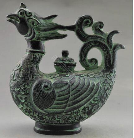 Sammlerstück dekorierte alte Handarbeit Bronze geschnitzt Phoenix Big TeaPot