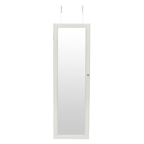 LED Işık ile LED Ayna Kabine Beyaz Retro PVC Ahşap Tahıl Kaplama Tüm Vücut Ayna Takı Depolama Soyunma Ayna Kabine ABD Içinde stok