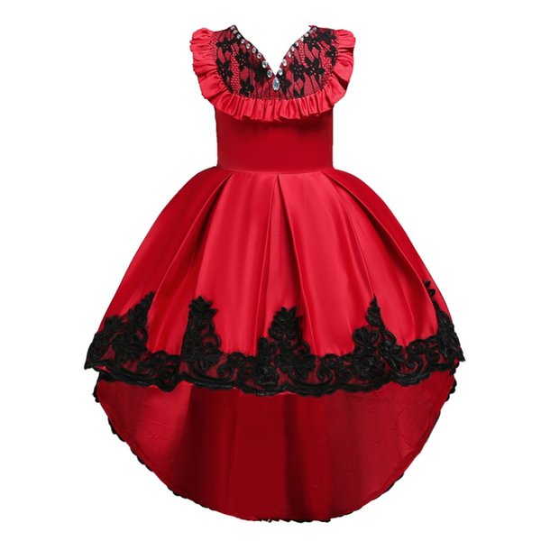 Diamond Flower Girls dresses Birthday Wedding Party Pageant Long Princess Dress Kid Christmas Costume Clothes New pattern Prom Gown 4-14T