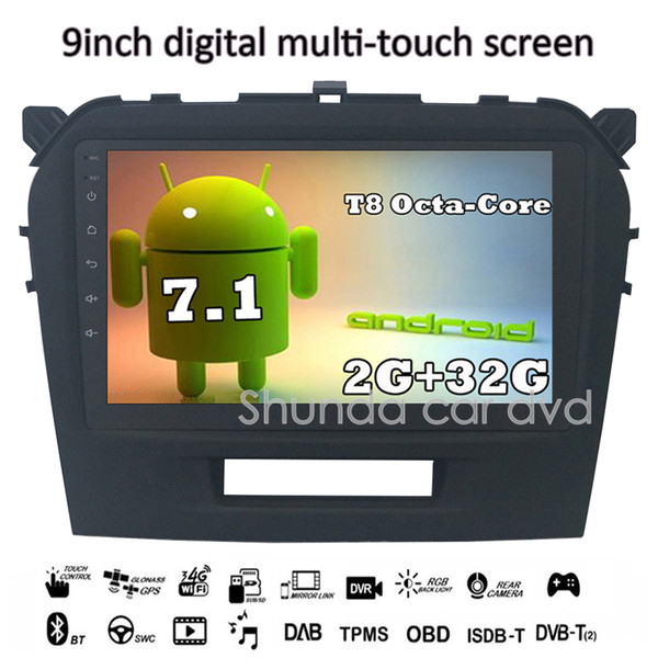 SHUNDA HD Android 7.1 T8 2G 32G for Suzuki Vitara 2008-2014 Car dvd Player with GPS 3G 4G WIFI Radio Navi SWC Free map