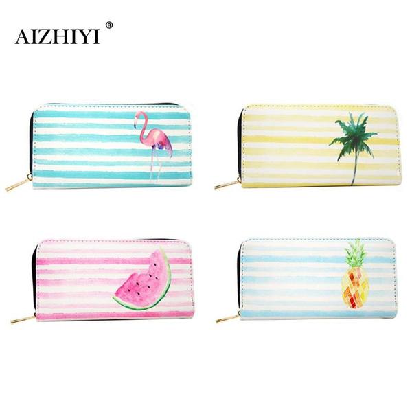2018 Fashion Pu Leather Women Clutch Portable Stripes Cartoon Print Long Wallet Zipper Envelope Bag Coconut Tree Printing Bags