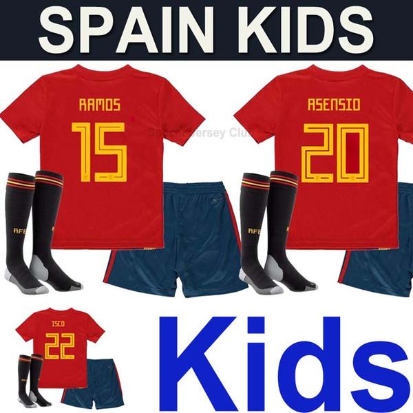 Spanien kids kits fußball trikots uniform mit socken 2018 Spain kids soccer jersey PIQUE A.INIESTA nationalmannschaft world cup camisetas jungen RAMOS MORATA ASENSIO ISCO SILVA fußball shirt