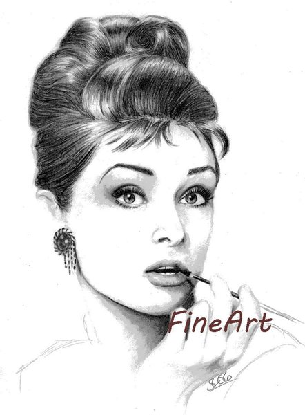 hand-painted on canvas wholesale audrey hepburn black and white canvas art artwork wall décor picture woman painting