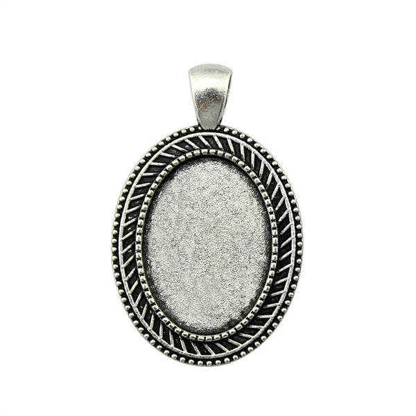 10 Pieces Cabochon Cameo Base Tray Bezel Blank Diy Jewelry Findings Simple Perforation Inner Size 18x25mm Oval Necklace Pendant Setting