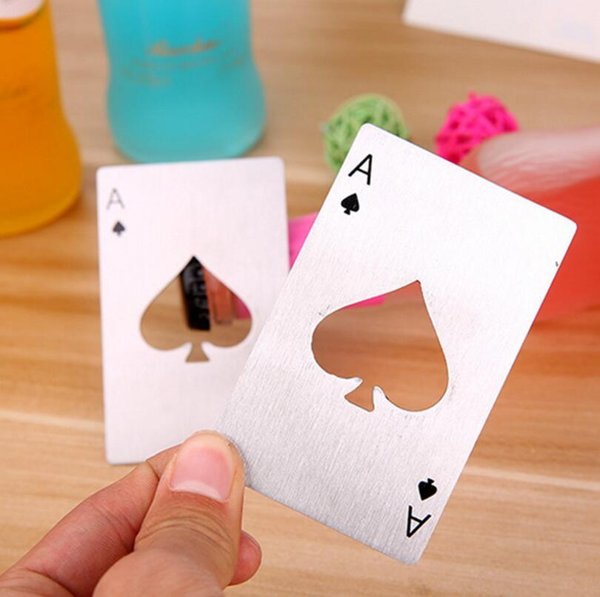 Free Shipping Kitchen Bar Tools Stainless Steel Poker Playing Card Bottle Opener Credit Card Beer Openers Gifts LX3323