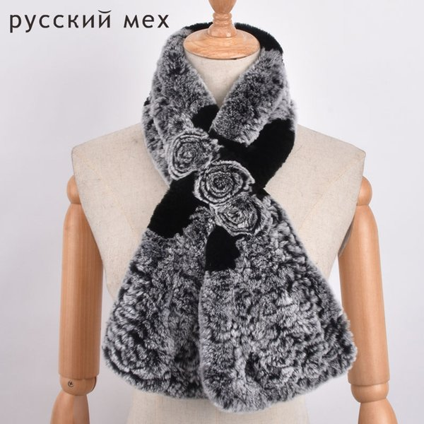 Women Real Knitted Rex Rabbit Fur Scarf Russian Winter Warm Neck Fur Flower Scarves