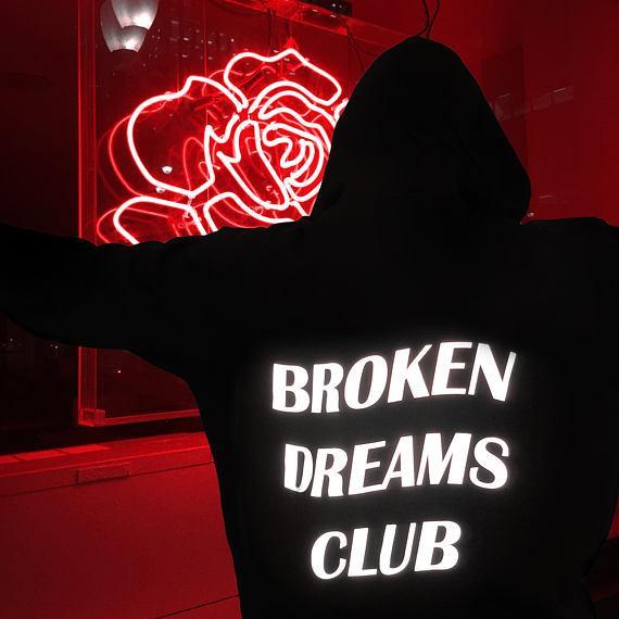Felpa con cappuccio Broken Dreams Club Nero Tumblr Felpe estetiche grunge Donna Uomo Felpa con cappuccio unisex Felpe