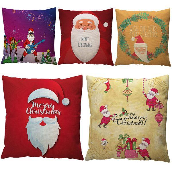 New Merry Christmas Cushion Cover Decorative Cotton Linen Xmas Christmas Elk Sofa Bed Home Decoration Festival Pillow Case