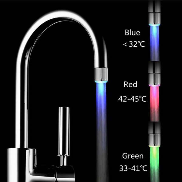 Mini Colorful Led Faucet Light Temperature Control Three Colors Lights Faucet Monochrome Water Flow Power Faucet Lighting