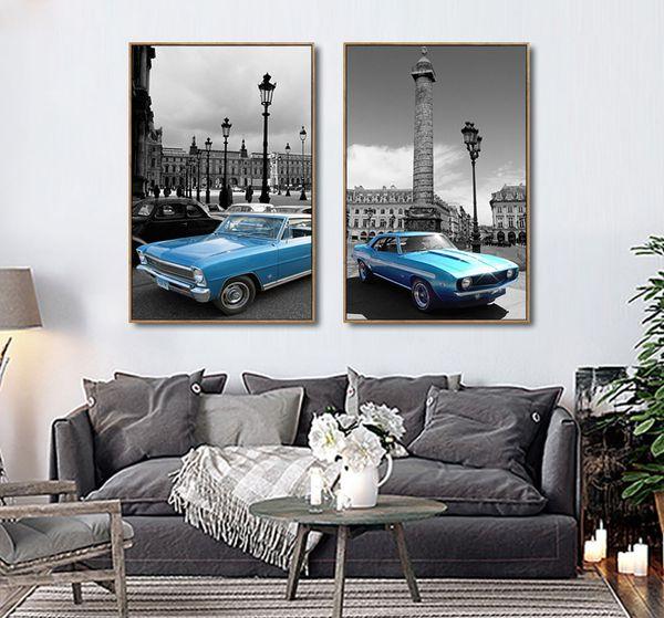 Acheter Moderne Bleu Rouge Jaune Voiture Mur Image Grand Bâtiment Peinture  Sur Toile Prints Sans Cadre Affiche Enfants Chambre Décor De $10.45 Du ...