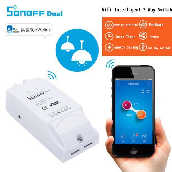 Sonoff Çift WiFi Akıllı Anahtar, Akıllı Ev Otomasyon Modülü 2 Kanal Via Android'i Anahtar Zamanlama Kablosuz Uzaktan Kumanda