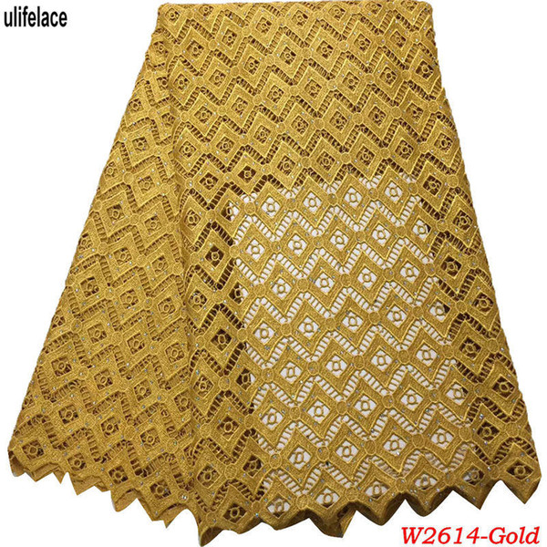 Gold Color African Cord Lace Fabrics High Class Nigerian Guipure Net Lace Embroidered Water soluble Lace Materials with Stones W2-614
