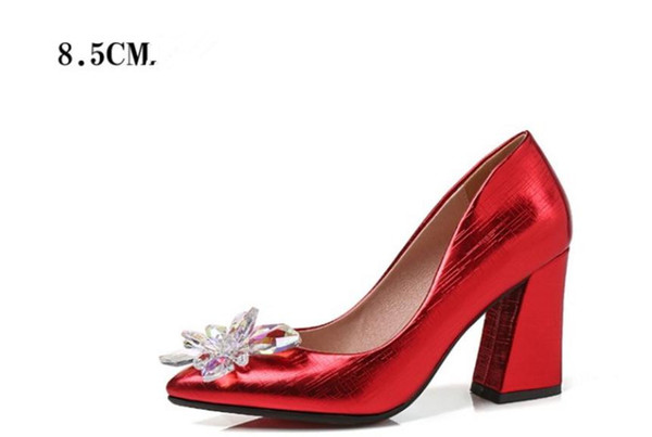 Free send Hot New style Water drill flowers Coarse heel single pointed end shoes high heels woman shoes shoes heel 6.5cm and 8.5cm