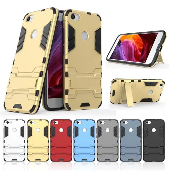 Rubber + Plastic Hybrid Case For XiaoMi RedMi Note 5A 4A 4X 3 4 5 Plus Cover Armor Silicone Stand Shell On Phone Cases