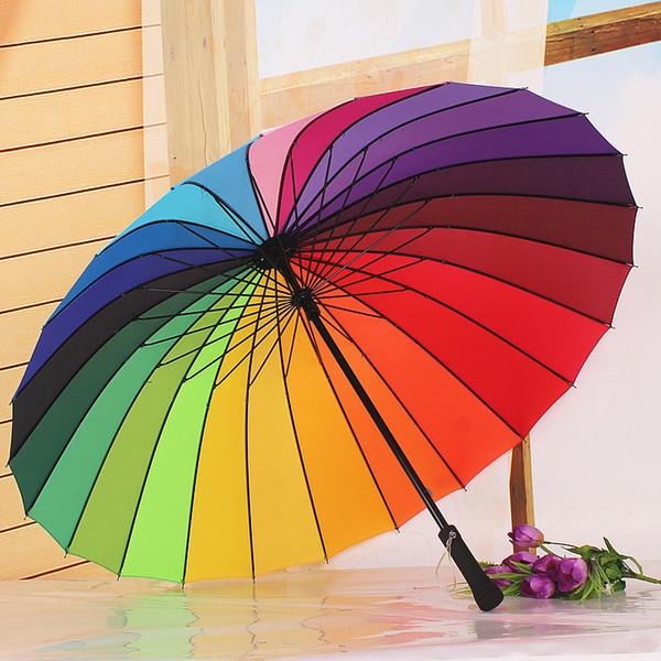 Umbrella Hot 24K Rainbow Umbrella Rain Women and Men Non-automatic Long-handle Umbrellas Guarda Chuva Paraguas