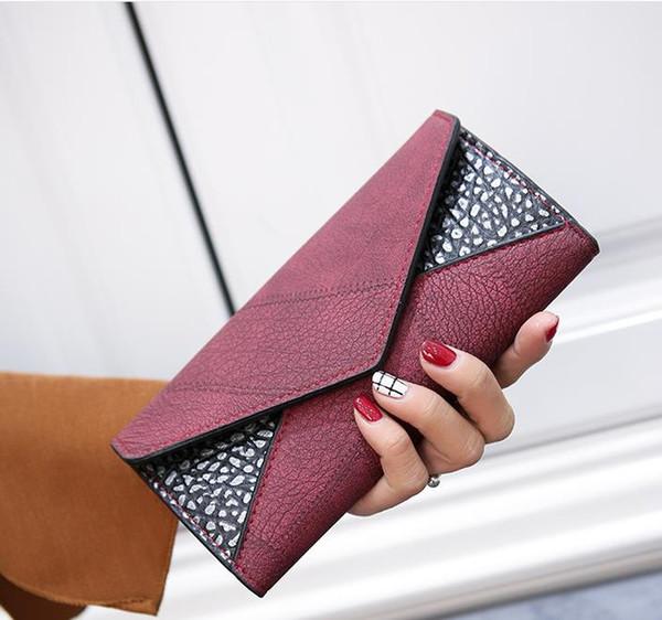 De haute qualité Mode Portefeuille Femmes Nouveau Designer Portefeuilles En Cuir Hasp Dames Sac À Main Bourse Carteira Sac Trifold Bifold Casual Long