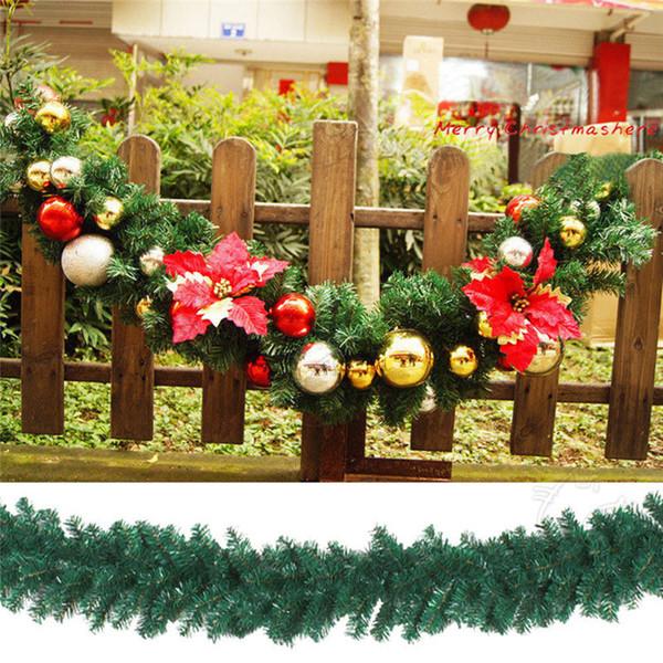 Moda Nuevo 2 .7m (9ft) Coronas verdes artificiales Guirnalda de Navidad Guirnalda de chimenea para Navidad Árbol de Año Nuevo Decoración de fiesta en el hogar