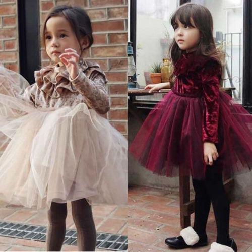 Kid Girls Princess Velvet Dress Long Sleeve Ruffle Solid Lace Tulle Tutu Dresses Champagne Claret 2 Colors Spring Fall Winter Boutique 1-6Y