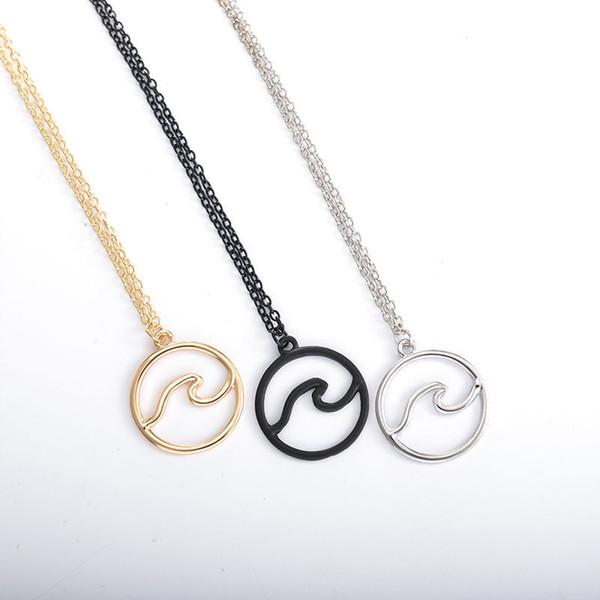 Collana d'onda per donne all'ingrosso gioielli nautici regalo per le donne collane ocean argento Colore gioielli semplice spiaggia pendente collana