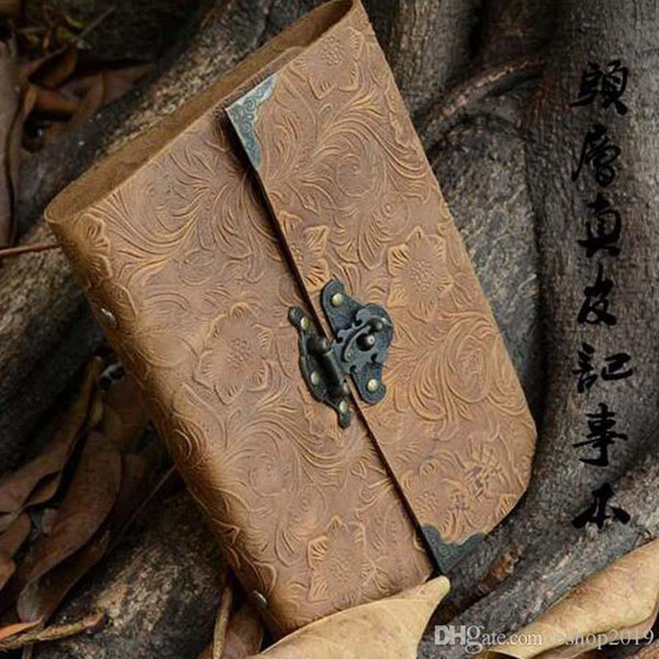 New Wholesale-Silvermoon genuine leather loose leaf vintage cowhide diary with lock notepad notebook Office & School Supplies free shipping