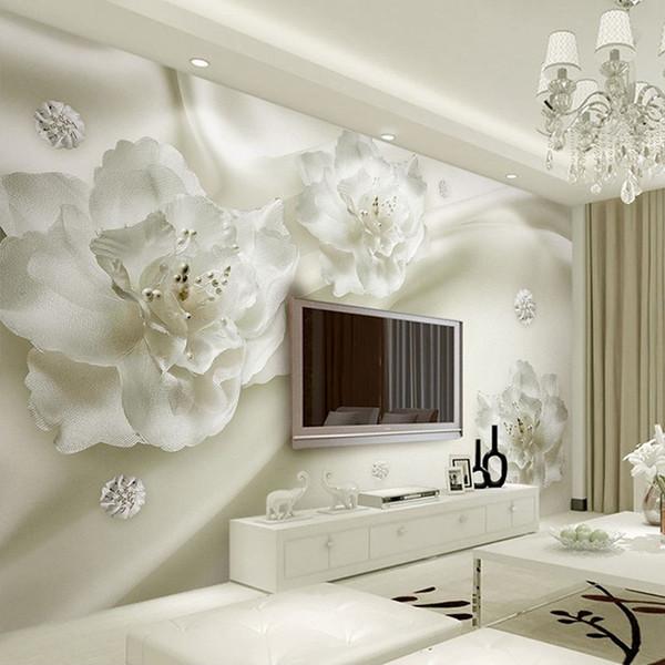 العرف أي حجم 3D جدار الجداريات خلفية زهرة الحرير الطراز الأوروبي 3D TV خلفية كبيرة ستريت الطلاء غرفة المعيشة جدارية ورق