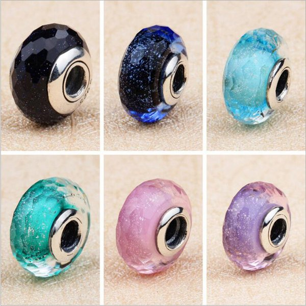 6 Colors Murano Glass European Bangle big hole Beads for 925 Sterling Silver Pandora Charms Bracelet Jewelry DIY making