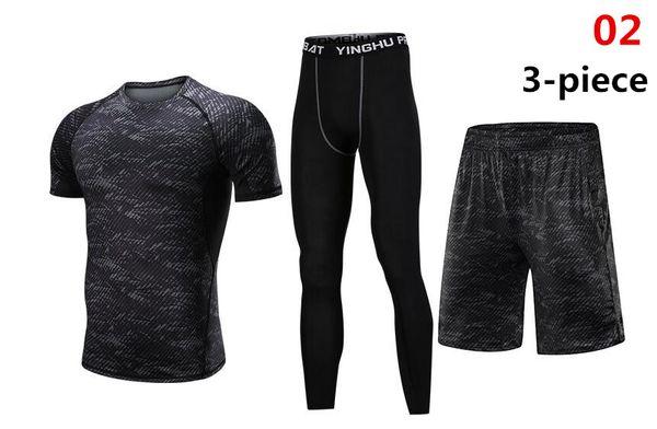 2019 Fitness Tight Sport Suit Men Short Sleeve Shirt +Pant Men's Running Set Compression Gym Clothing Quick Dry Men's Sportswear
