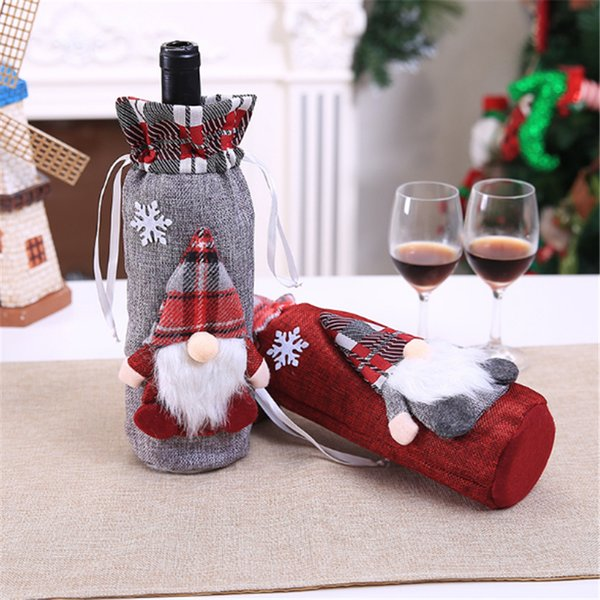 Christmas Red Wine Bottle Cover Bags Home Decoration Storage Bags New Year's Products Christmas Gift Bottle Cover