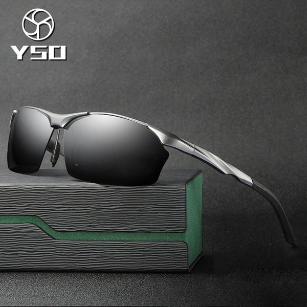 YSO Sunglasses Men Polarized UV400 Aluminium Magnesium Frame Sun Glasses Driving Glasses Semi Rimless Accessories For Men 8513