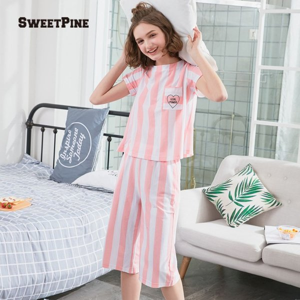 New Fashion Women Nightgown Set O-neck Short Sleeve Striped Shirt With Pants Casual Loose Nightdress For Summer